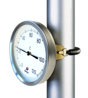 Bimetallic thermometer for pipes