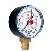 Pressure gauges with plastic case and red pointer M0101