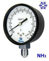 Manómetros para refrigeración de amoniaco con caja de acero lacado en negro