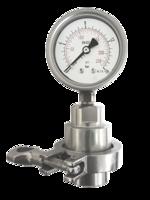 Manómetro con separador de membrana sanitario y brida de 0 a 16 bar