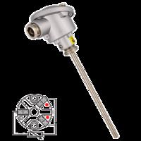 Sonda de temperatura PT100 cabezal con conexión eléctrica sencilla y bulbo liso