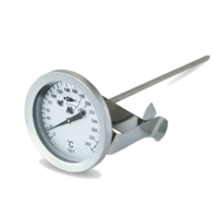 Frying thermometer with clip holder