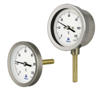 Dial thermometers with bimetallic strip and inner components in copper alloy