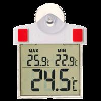 Termómetro digital para ventanas exterior con ventosa y panel de recarga solar