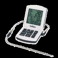 Professionelles Küchenthermometer mit Alarm, Timer und Sonde aus Stahl