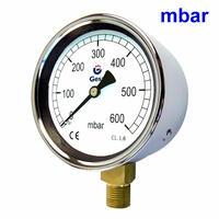 Ventómetro para bajas presiones con escala en milibares y caja de acero zincado