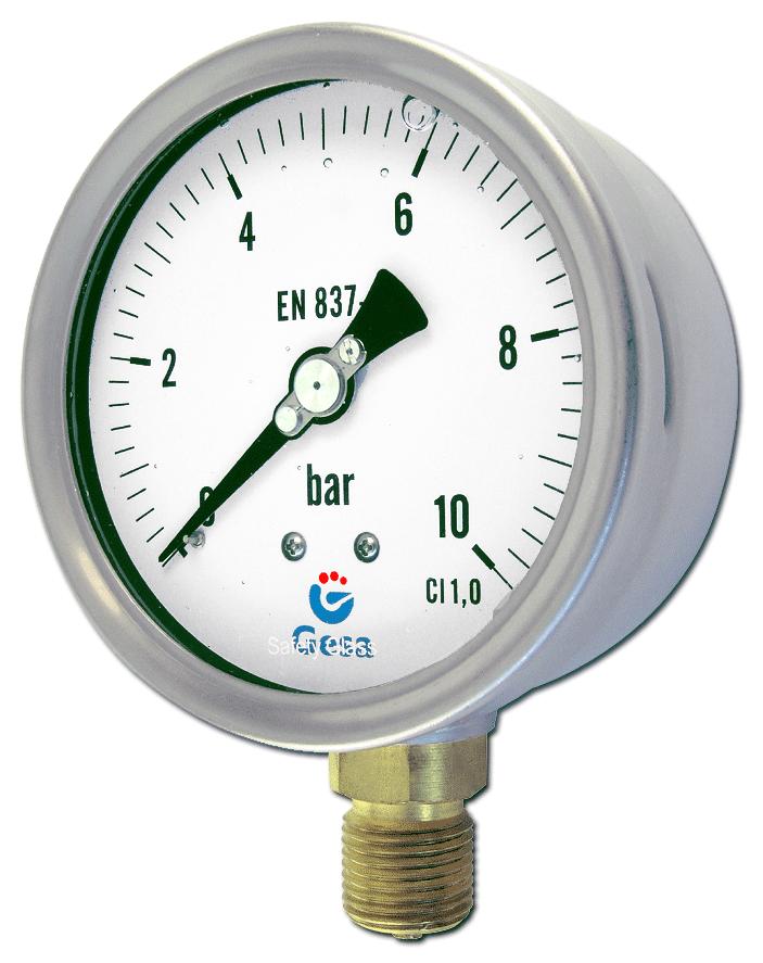 Man metros con caja de acero inoxidable gesa for Manometro para medir presion de agua
