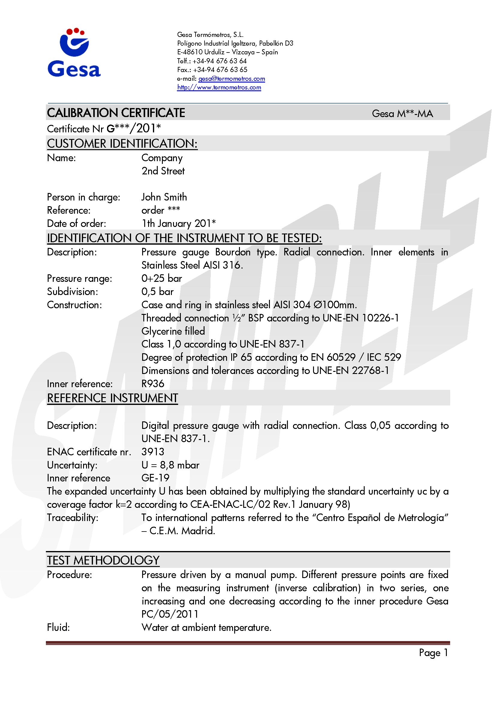 Metrology Laboratory   Calibration certificates   GESA