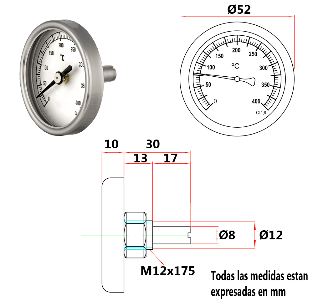 Termometros bimet licos para puertas de hornos de le a - Termometros para hornos de lena ...