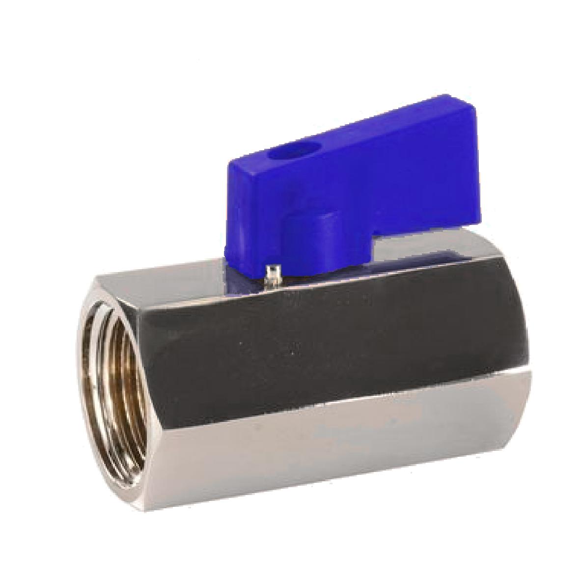 miniválvula de bola en acero con presión nominal de 16 bar